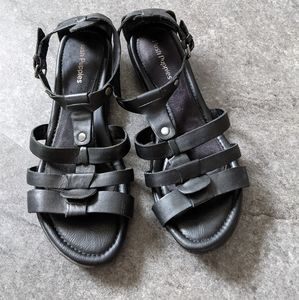 Hush Puppies 11 black leather gladiator sandals